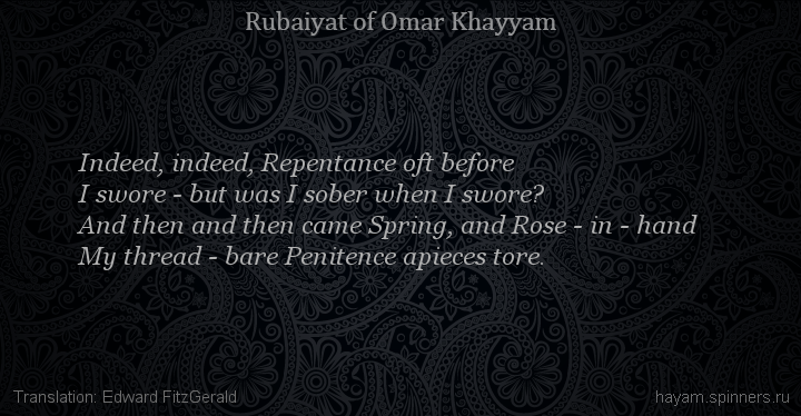 Indeed, indeed, Repentance oft before